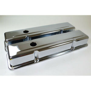Rpc Engine Valve Cover Set R9215 Tall Chrome Steel For Chevy 283 350 Sbc