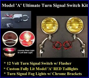 1928 31 Ford 12v Ultimate Turn Signal Kit Fog Lights Red Taillights Model A