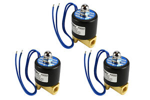 3 Lot 1 4 Npt Electric Brass Solenoid Air Water Valve Nc 12v Dc Pneumatic