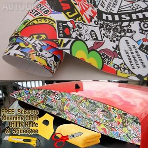 108 X 60 Jdm Illest Stickerbomb Graffiti Cartoon Vinyl Film Wrap Sticker Decal