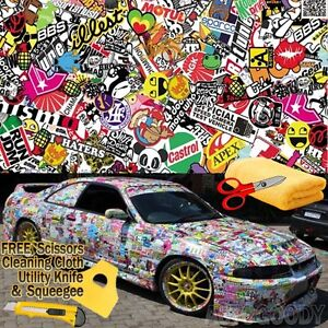 84 X 60 Jdm Illest Stickerbomb Graffiti Cartoon Vinyl Film Wrap Sticker Decal
