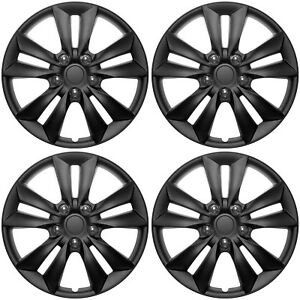 4 Pc Set Of 16 Matte Black Hub Caps Rim Cover For Oem Steel Wheel Covers Cap