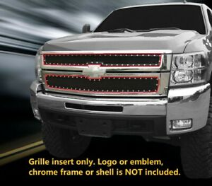 Black Mesh Rivet Grille Grill Upper Stainless For 2007 2010 Chevy Silverado