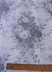 Antique French Old Cabbage Rose Chintz Curtain Fabric Panel C 1870 3yds2 Lx64 W