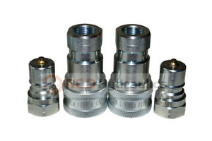 2 Sets Of 3 8 Iso 7241 b Hydraulic Quick Disconnect Couplers