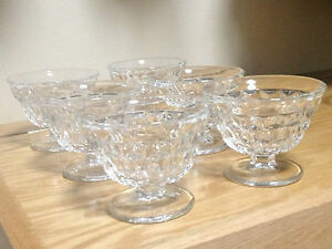 Antique Set Of 6 Glass Bowls On Pedestal Ice Cream Dessert Cups Cut Glass