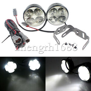 2 Universal 4 Led Car Drl Round Daytime Running Light Driving Fog Blubs 12v