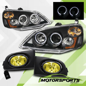 Led Halo 2001 2003 Honda Civic Dx Lx Ex Projector Headlights Yellow Fog Lights