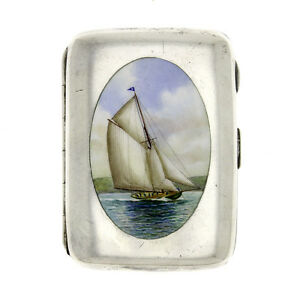 America S Cup Shamrock Sailboat Enamel English Birmingham Sterling Case 1899