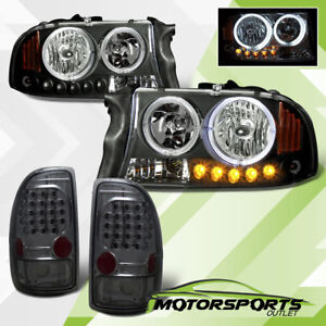 ccfl Halo 1997 2004 Dodge Dakota Black Led Headlights smoke Brake Tail Lights