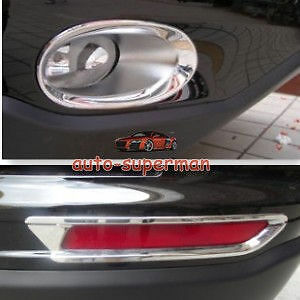 Chrome Front Rear Fog Light Lamp Cover For Honda Crv 2010 2011 Except Diesel