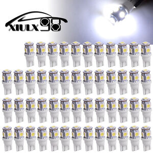 50x 7000k Cool White T10 5050 5smd Led Interior Dome Light Instrument Dash Bulbs