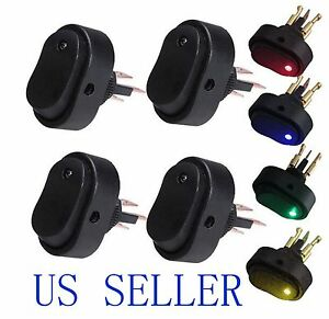 Blue green yellow red Led Light 12v 30a Car Boat Auto Rocker Spst Toggle Switch