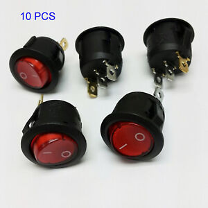 10x Spst Red Neon Light On off Round Rocker Switch 6a 250v 10a 125v Ac