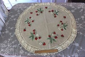 Victorian Old Society Silk Hand Embroidered Roses Lace Edged Table Cloth C 1890