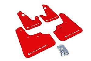 Rally Armor Mud Flaps Guards For 08 15 Lancer Ralliart red W white Logo