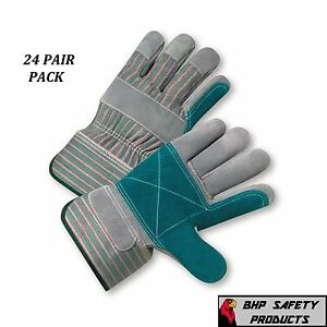 24 Pair West Chester Double Palm Split Leather Work Gloves Size Large 500dp