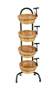 4 Tier Basket Stand Sign Clips Wicker Grocery Store Rack Display 15603