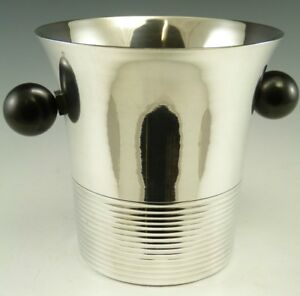 French Silver Plate Art Deco Ice Bucket Handled