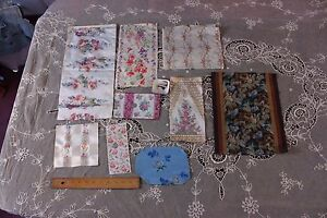 Lot Of 8 Antique French Victorian Silk Ribbon Samples C1890 Roses Frame Boudoir
