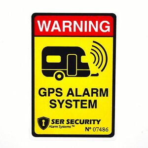 2 Caravan Van Motorhome Security Sticker Alarm Gps System Warning Decal