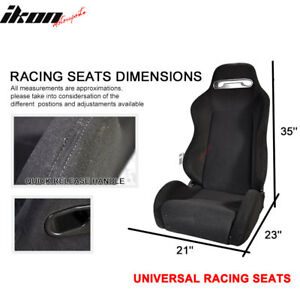 Universal Rco Style Cloth All Black Racing Seats pair