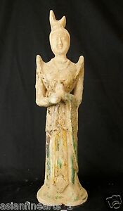 Tang Dynasty Old Tang San Cai Chinese Antique Pottery Woman Figure Statue 684