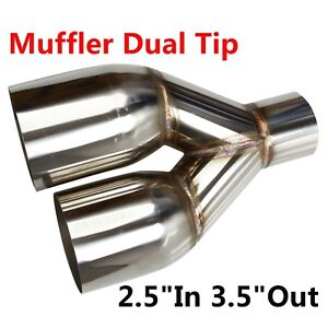 Polished Stainless Steel 2 5 In 3 5 Out Sliver Muffler Dual Exhaust Pipe Tip