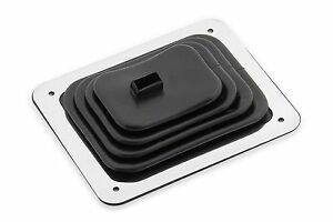 Hurst Indy Chrome Stick Shifter Rubber Floor Boot Trim Plate Kit