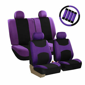 Car Seat Covers Purple Full Set For Auto W Steering Wheel Belt Pad 4head Rest