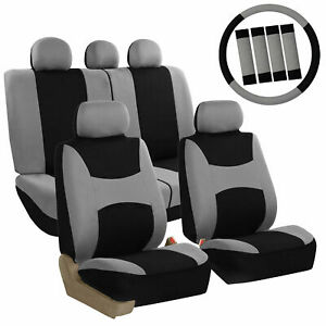 Car Seat Covers For Auto Full Set Gray W Steering Wheel Belt Pad 5headrest
