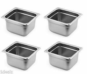 1 6 Size Standard Anti jam Stainless Steel Steam Table Hotel Pan 4 4 Pack