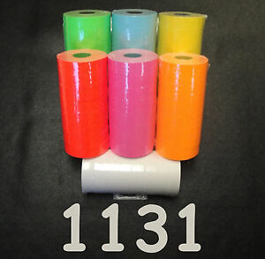 Monarch 1131 Price Gun Labels 1 Each White pink red green blue orange yellow