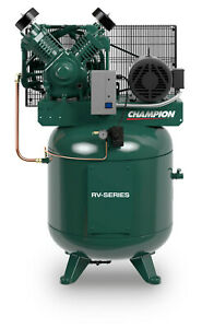 7 5hp 2 Stage 1 Phase 80 Gal Vertical Champion Air Compressor W After Cooler