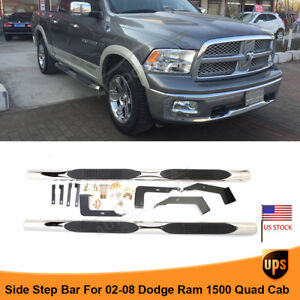 2002 2008 Dodge Ram 1500 Quad Cab 4 Side Step Nerf Bars Running Boards Black
