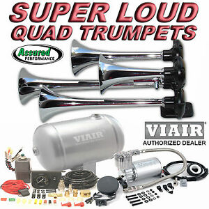 Loud Quad Trumpet Truck Train Air Horn Kit Viair 275c 150psi 1g System Car Truck