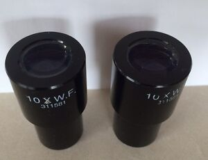 Lot Of 2 Leica 10x W f Wide Field 311581 Microscope Eyepieces Pair