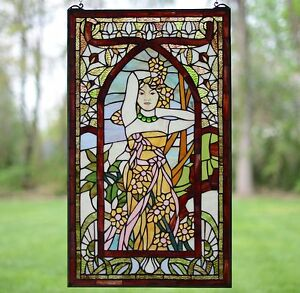 20 X 34 Alphonse Mucha Daytime Art Deco Girl Stained Glass Window Panel