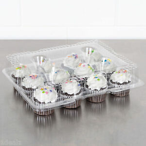 12 Compartment 100 Case Hinged Dome Clear Plastic Cupcake Container rebate