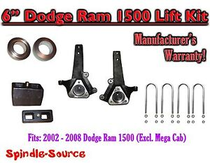 2002 2008 Dodge Ram 1500 2wd 6 Front 4 Rear Spindle Coil Block Lift Kit
