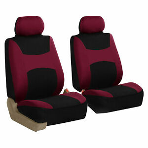 Front 2 Bucket Universal Car Seat Covers Burgundy For Auto