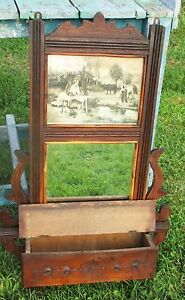 Antique French Wall Cabinet Beveled Glass Mirror Carved Wood Picture Stunning