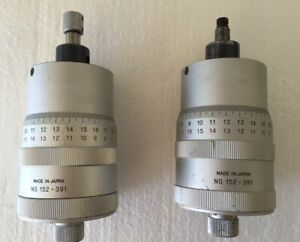 2 Mitutoyo 152 391 Micrometer Heads For Xy Stage 0 1 Range 0001 Graduation