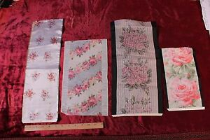 Lot Of 4 Antique French Rose Silk Ribbon Samples C1900 Frame