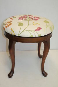 French Circular Swivel Vanity Piano Side Bench With Unique Fabric On C1930s