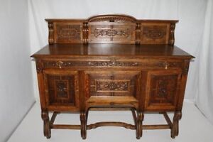 French Oak Sideboard Buffet With Fabulous Carvings Circa19th