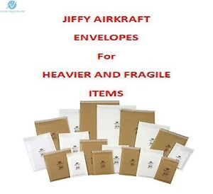 Genuine Jiffy Padded Bubble Wrap Lined Envelope Postal Bags Sizes White