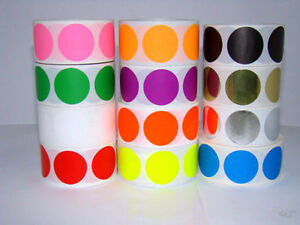 12 Rolls 2 Round Color Coded Inventory Dot Sticker 500 Labels Each Color 2