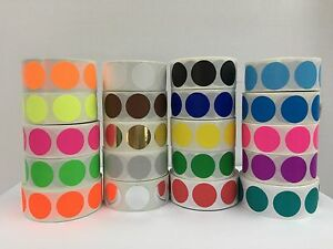 20 Rolls 2 Round Color Coded Inventory Dot Sticker 500 Labels Each Color