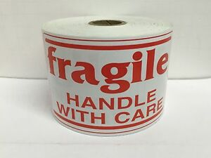 4 Rolls 3x5 Fragile Red White Shipping Warning Stickers 500 Labels Each Roll